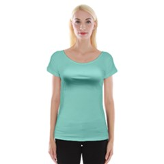 Tiffany Aqua Blue Puffy Quilted Pattern Women s Cap Sleeve Top