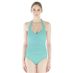 Tiffany Aqua Blue Puffy Quilted Pattern Halter Swimsuit