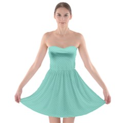 Tiffany Aqua Blue Puffy Quilted Pattern Strapless Bra Top Dress