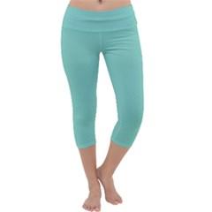 Tiffany Aqua Blue Puffy Quilted Pattern Capri Yoga Leggings