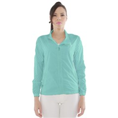 Tiffany Aqua Blue Puffy Quilted Pattern Wind Breaker (Women)