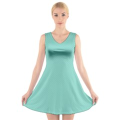 Tiffany Aqua Blue Puffy Quilted Pattern V-Neck Sleeveless Skater Dress