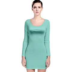 Tiffany Aqua Blue Puffy Quilted Pattern Long Sleeve Velvet Bodycon Dress