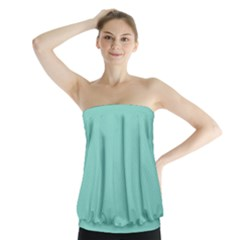 Tiffany Aqua Blue Puffy Quilted Pattern Strapless Top