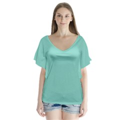 Tiffany Aqua Blue Puffy Quilted Pattern Flutter Sleeve Top