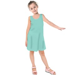 Tiffany Aqua Blue Puffy Quilted Pattern Kids  Sleeveless Dress