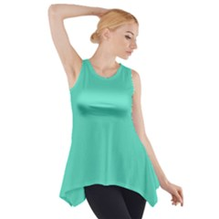 Classic Tiffany Aqua Blue Solid Color Side Drop Tank Tunic