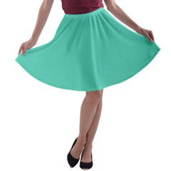 Classic Tiffany Aqua Blue Solid Color A-line Skater Skirt