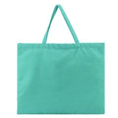 Classic Tiffany Aqua Blue Solid Color Zipper Large Tote Bag