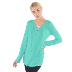 Classic Tiffany Aqua Blue Solid Color Women s Tie Up Tee