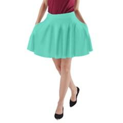 Classic Tiffany Aqua Blue Solid Color A-Line Pocket Skirt