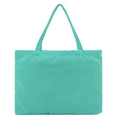 Classic Tiffany Aqua Blue Solid Color Medium Zipper Tote Bag
