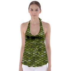 Green Scales Babydoll Tankini Top