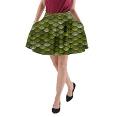 Green Scales A-Line Pocket Skirt