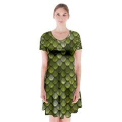 Green Scales Short Sleeve V-neck Flare Dress
