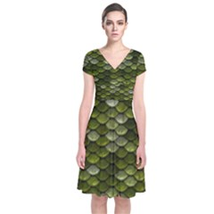 Green Scales Short Sleeve Front Wrap Dress