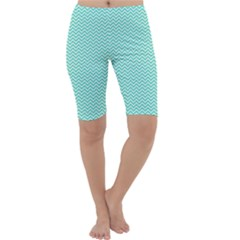Tiffany Aqua Blue Chevron Zig Zag Cropped Leggings