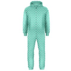 Tiffany Aqua Blue Chevron Zig Zag Hooded Jumpsuit (Men)