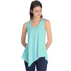 Tiffany Aqua Blue Chevron Zig Zag Sleeveless Tunic