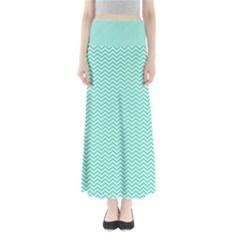 Tiffany Aqua Blue Chevron Zig Zag Maxi Skirts