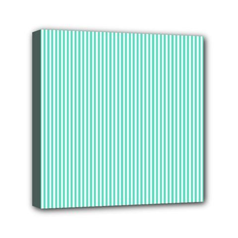 Classy Tiffany Aqua Blue Sailor Stripes Mini Canvas 6  x 6