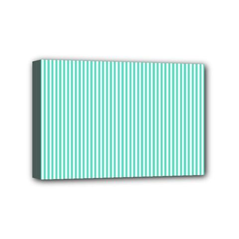 Classy Tiffany Aqua Blue Sailor Stripes Mini Canvas 6  x 4