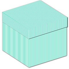 Classy Tiffany Aqua Blue Sailor Stripes Storage Stool 12