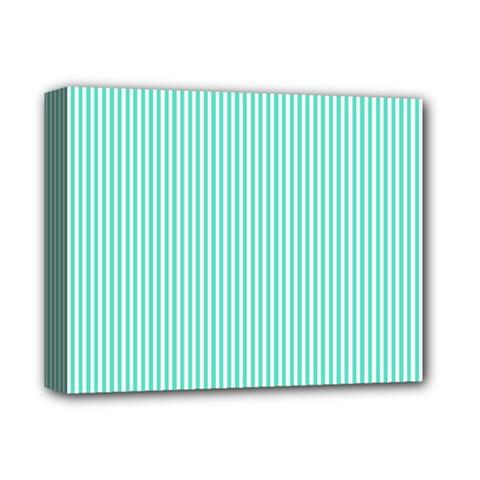 Classy Tiffany Aqua Blue Sailor Stripes Deluxe Canvas 14  x 11