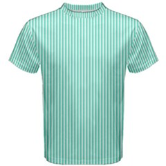 Classy Tiffany Aqua Blue Sailor Stripes Men s Cotton Tee