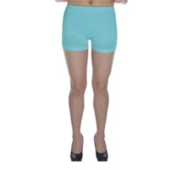 Classy Tiffany Aqua Blue Sailor Stripes Skinny Shorts