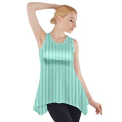 Classy Tiffany Aqua Blue Sailor Stripes Side Drop Tank Tunic
