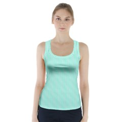 Classy Tiffany Aqua Blue Sailor Stripes Racer Back Sports Top