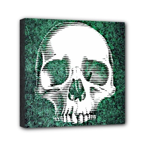 Green Skull Mini Canvas 6  x 6