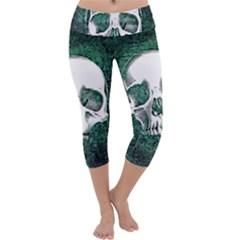 Green Skull Capri Yoga Leggings