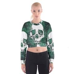 Green Skull Cropped Sweatshirt