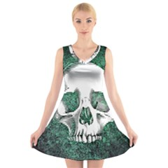 Green Skull V-Neck Sleeveless Skater Dress