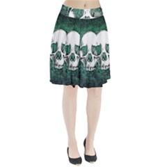 Green Skull Pleated Skirt