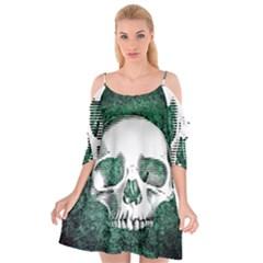 Green Skull Cutout Spaghetti Strap Chiffon Dress