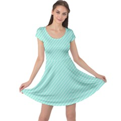 Tiffany Aqua Blue Deckchair Stripes Cap Sleeve Dresses