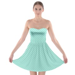 Tiffany Aqua Blue Deckchair Stripes Strapless Bra Top Dress