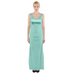 Tiffany Aqua Blue Deckchair Stripes Maxi Thigh Split Dress