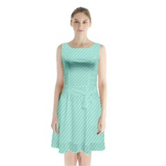 Tiffany Aqua Blue Deckchair Stripes Sleeveless Waist Tie Chiffon Dress