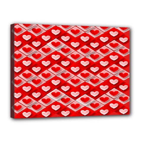 Hearts On Tile Canvas 16  x 12