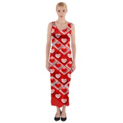 Hearts On Tile Fitted Maxi Dress