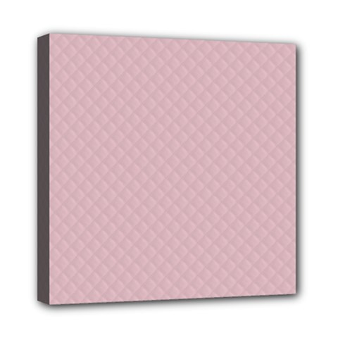 Baby Pink Stitched and Quilted Pattern Mini Canvas 8  x 8
