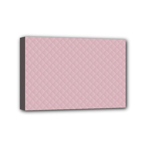 Baby Pink Stitched and Quilted Pattern Mini Canvas 6  x 4