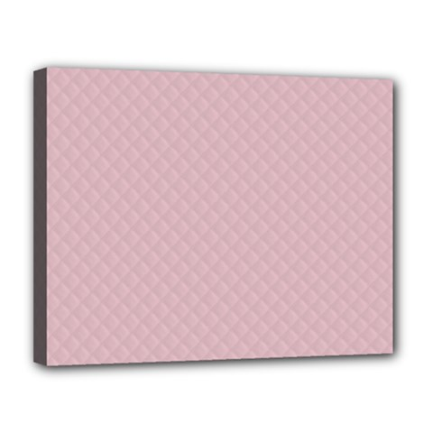 Baby Pink Stitched and Quilted Pattern Canvas 14  x 11