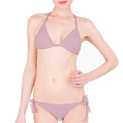 Baby Pink Stitched and Quilted Pattern Bikini Set