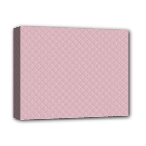 Baby Pink Stitched and Quilted Pattern Deluxe Canvas 14  x 11
