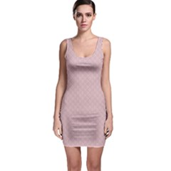 Baby Pink Stitched and Quilted Pattern Sleeveless Bodycon Dress